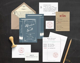Build Your Own Invite Suite, Printable Book Invite, Book Wedding Invite, Wedding  Invitation