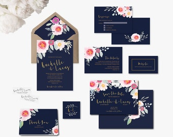 Build Your Own Navy Blue and Floral Invite Suite, Navy Blue Invite, DIY Invitation Suite, Printable Wedding Invite, Wedding Invitation #NPW