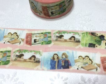 best friend washi tape 5Mx2cm girl friendship teen girl friends forever good friend sticker Japan comic girl collage girl gift decor