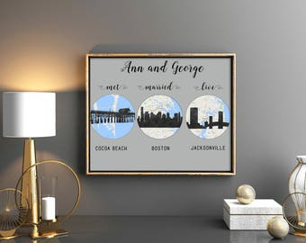 Anniversary parents gift We met we married live 1st anniversary gift Engagement Gift Whimsical wedding gift Hello Will you I do map custom