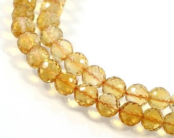 Genuine Citrine, 6 mm, Micro Faceted Round Beads, 6 pcs, Drilled Ball Beads, Briolette Yellow Beads, November Birthstone