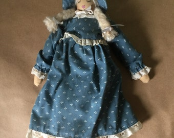 Wooden Doll in Blue Calico Dress
