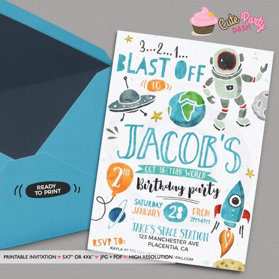 Astronaut birthday invitation rocket party invitation for Space themed stationery