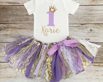 Purple/Lavender and Gold Princess Birthday Outfit, Sparkly Princess Purple and Gold First Birthday, Lavender and Gold Fabric Tutu