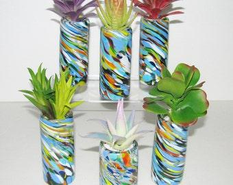 Faux Succulent Planter in Colored Recycled Glass, Desk Accessory, Artificial Succulent Arrangement, Tabletop Decoration, Succulent Gift
