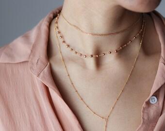 Gemstone Beaded Choker Necklace - Pyrite Gemstone Chain Choker - Boho Jewelry - Delicate Beaded Choker - Minimalist Necklace - Gifts for Her