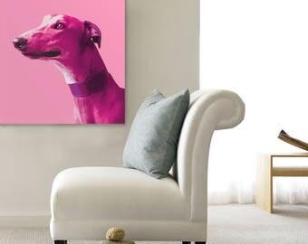Greyhound pop art, Large pop art print, Pop art dog print, Greyhound portrait, Greyhound wall art, Pop art dog art, Pop art dog portrait