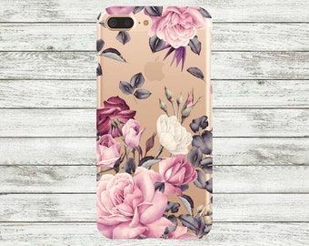iPhone 7 case clear floral roses Plastic or Silicone iPhone 6 case, iPhone 6 Plus Case, iPhone 7 Plus Case, iPhone 5 / 5s /se Case.