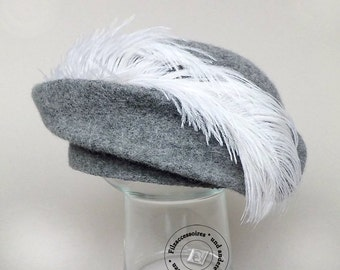 Felted designer hat cocktail-hat with ostrich feather, Pill-Box outstanding bridal hat, winter wedding, grey felt hat, bridal accessories