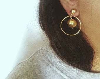 Vintage 80's Costume Gold Ball Hoop Earrings