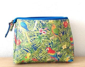 Make up bag printed jungle, parrots • Collection PARROT PARADISE