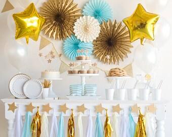 First Birthday Decorations, Second Birthday, First Birthday Boy, Twinkle Twinkle Little Star First Birthday, Blue and Gold Baby Shower, Boy