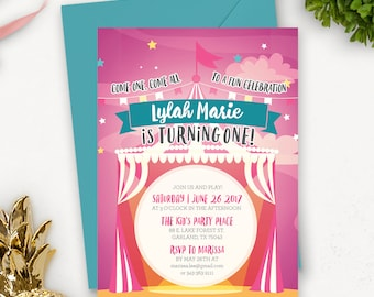 Circus Birthday Invitation Printable / Circus Birthday Invitations for Girls / Carnival Theme Party Invitations / Big Top Birthday
