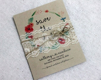 Save The Date Boho Cards Set Of 25, Lace Save The Dates U2022 Rustic Wedding