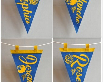 Golden Girls mini pennants - Set of 4 or each sold individually - Handmade in USA