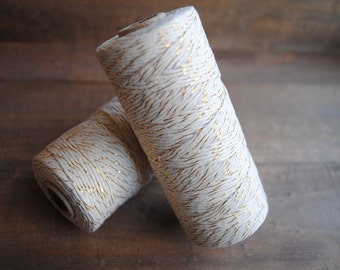 White & Gold Foil Bakers Twine 100yds of 12Ply gift wrap | twine | crafters twine | birthday | bachelorette | christmas | string |