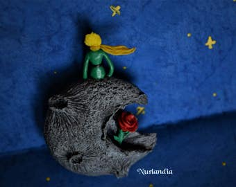 """Brooch """"A beautiful Rose from a meteorite b-612"""""""