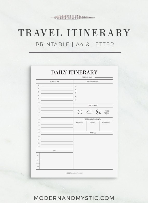 travel itinerary printable printable travel schedule