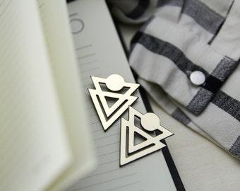 geometrical fashion studs, geometrical fashion earrings,triangle fashion studs, modern geometrical studs,triangle studs,big geometric studs