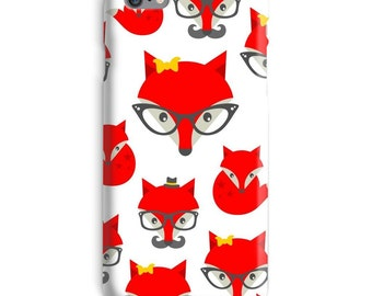 Red iPhone Case, Fox iphone case, Hipster iphone 6 case, Mustache iphone 6 case, Animal iphone 6s case, Orange iphone case