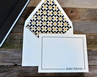 Crisp Geometric Gold Personalized Stationery Set