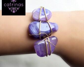 Purple quartz bracelet, Bangle natural stone, quartz, with Mexican heart and soul bracelet, bridesmaids gift, gift MOM