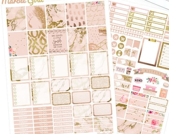 Marble Planner Stickers, Printable, weekly kit, Gold stickers, glam rose, use with Erin Condren, ECLP, glitter, pink, glitter, EC, blush,
