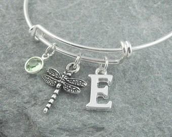 Dragonfly bracelet, silver dragonfly jewelry, initial bracelet, monogram bracelet, swarovski birthstone, personalized jewelry, silver bangle
