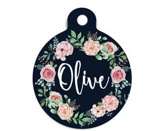 Vintage Floral Pet Id Tag, Trendy Blush Floral Dog Tag for Dogs, Floral Cat Id Tag, Modern Collar Tag for Pets, Stethoscope Name Tag for Vet