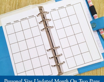 UNDATED Personal Size Month On Two Page Planner Inserts - Individual Months