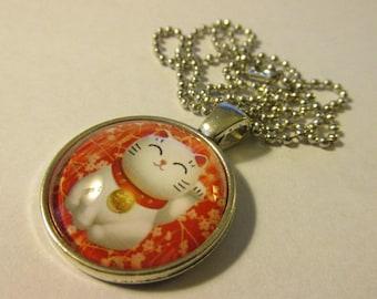 "Silver Tone Round Glass Dome Pendant of Lucky Cat Maneki Neko,1"""