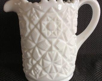 Vintage Westmoreland milk glass pitcher Old Quilt pattern heavy glass