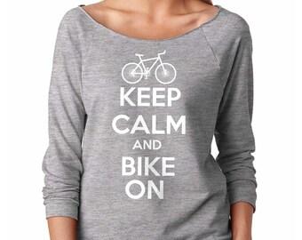 Keep Calm Bike On Raglan Gift For Biker Bicycler Tee Shirt Cyclist Gift Bicyclist Baseball Tee Wheelman Gift