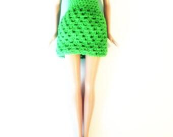 outfit dress doll/ green dress/ handmade crochet dress