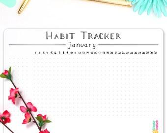 Habit Tracker Chart • Minimalism • Bullet Journal Sticker • Goal Tracker • Daily Habit • Health Tracker • Minimalistic Sticker • BuJo