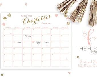 Due Date Calendar Game, Guess the Due Date, Birthday Prediction, Baby Shower Game, Baby Shower, Download, Printable, Pink and Gold