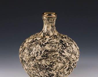 Bud flower vase, coastal vase, coastal decor, ocean vase, barnacle vase, ceramic vase, pirate vase, gold vase, pottery vase, ocean decor