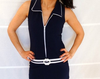 Tight dress short bodycon dress blue dress bodycon dress mini short sleeveless dress blue womens mini dress 70s short dress 1970s Vintage