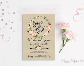 Printable Save The Date Card Rustic Save The Date Template DIY Wedding Invitation Printable Wedding Floral Save Our Date