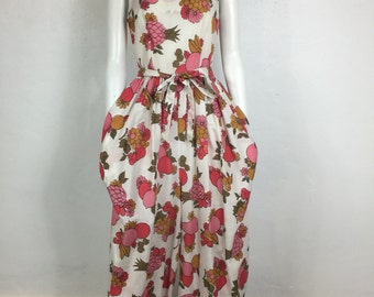 Vtg 60s fruit print novelty wide leg palazzo avant garde jumpsuit jumper small