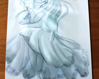 A4 Serenity print blue lady original artwork digital spiritual