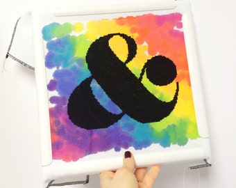 Ampersand // Modern cross stitch kit with hand painted fabric // DIY Wedding gift, Valentine's, Aida, Evenweave, Typography, Crafty Gift