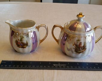 antique iridescent bavaria creamer & lidded sugar bowl in purple stripes - victorian woman pictures w/ gold trim - vintage kitchen serving