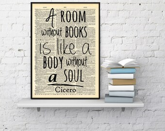 Book lover quote Dictionary Print Bookworm gift, A room without books is like a body without a soul Cicero Quote, Bookworm Gift Dictionary