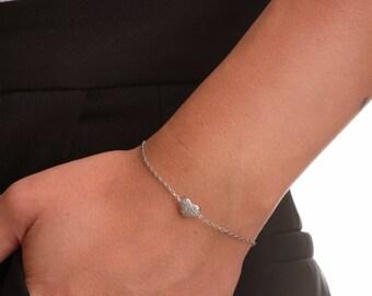 Delicate Heart Bracelet, Silver Heart Bracelet, Heart Bracelet, Silver Bracelet, Bff Bracelet, Minimalist Jewelry, Dainty Bracelet.
