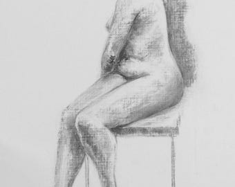 Life Drawing #4, Original Charcoal Sketch