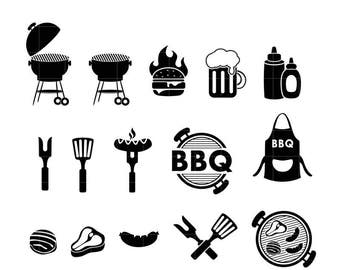 BBQ Icon Set Clipart. Backyard Grill Silhouette Icons for commercial or personal use. Functional Icon Set