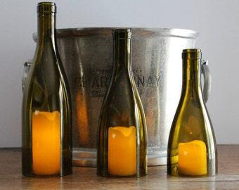Wine Bottle Candle Holder/Shades (Set of 3) - 750ml Recycled Burgundy Bottles - AMBER