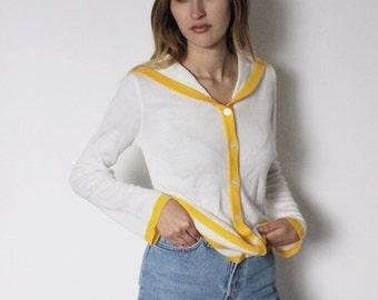 Vintage 1970s Sailor Cardigan | Sailor Sweater | White Cardigan | Alex Colman Cardigan | Yellow Striped Sweater