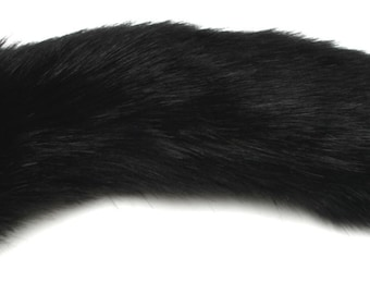 "Kitten Tail Jet Black 15.6"" (40 cm) Faux Fur with Silicone or Metal Plug Butt Anal Plug Fetish Cosplay Petplay Furry Animal"